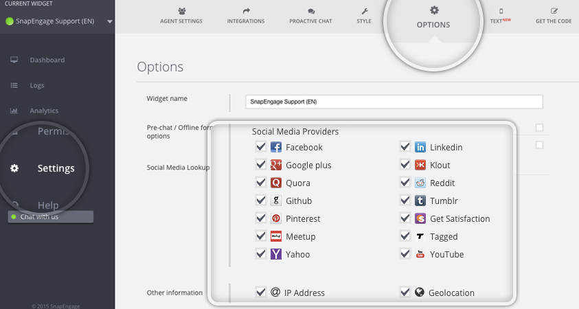 social discovery controls SnapEngage