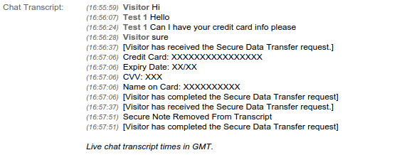 secure data in chat transcripts